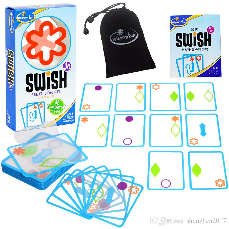 Fun Swish Logical Thinking Transparent Card Board Games for Kids Color Shapes Children's Party Toys