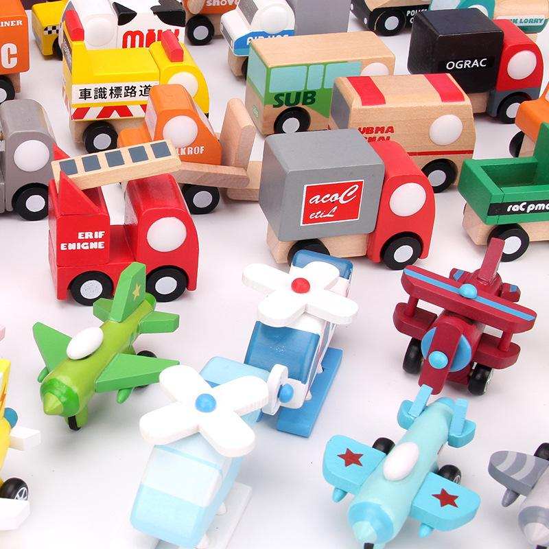 Colorful Wooden Movable Small Aircraft Helicopters Toys Wooden Toys Craft Decoration Twelve Piece Combination Plane Model Toys