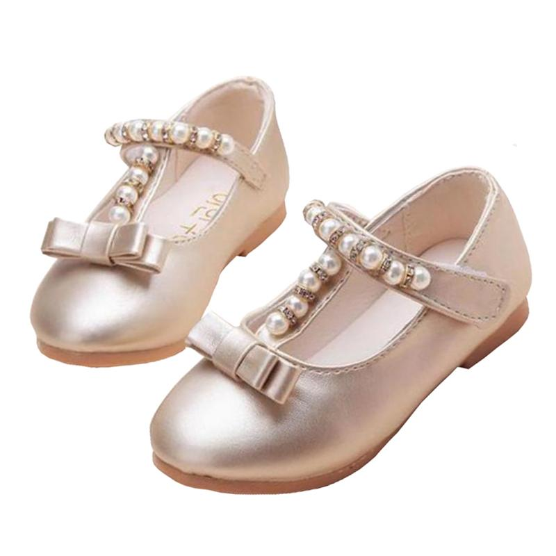New 2019 Kids Baby Flowers Children Princess Leather Toddler Shoes For Little Girl Gold Beaded Dance Wedding Party Dress Shoes