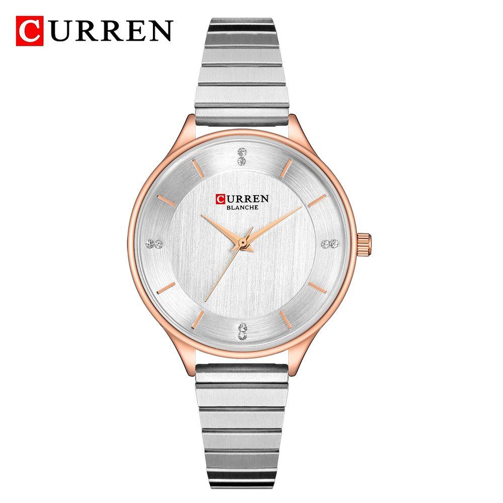 7f4c9ed0e988 Compre Curren Señoras Relojes Moda Plata Análogo De Cuarzo De Acero  Inoxidable Reloj De Pulsera De Lujo De Las Mujeres Vestido De Diamantes De  Imitación De ...