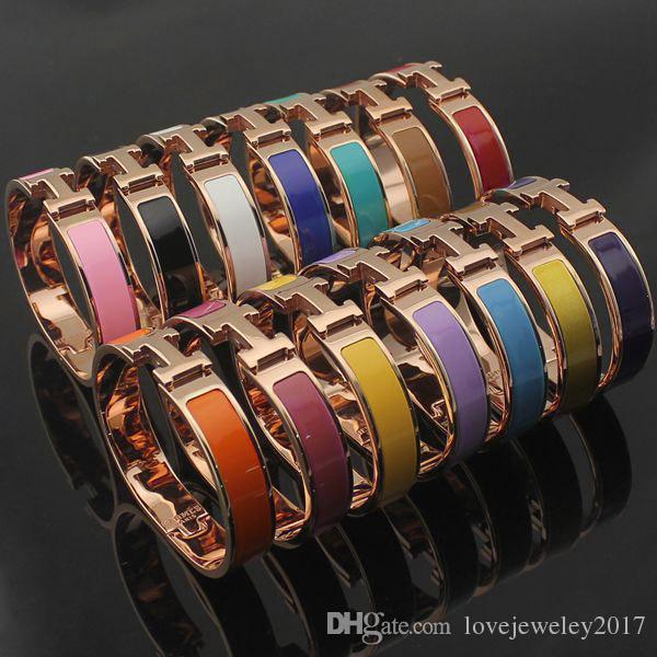 39c4efccb5c2 Top Qualitu 316L Titanium Steel 12mm H Bracelets Rose Gold Silver Gold  Hardware Bangle Women And Men Famous Brand Pulsera Fashion Jewelry Mens  Bangles ...