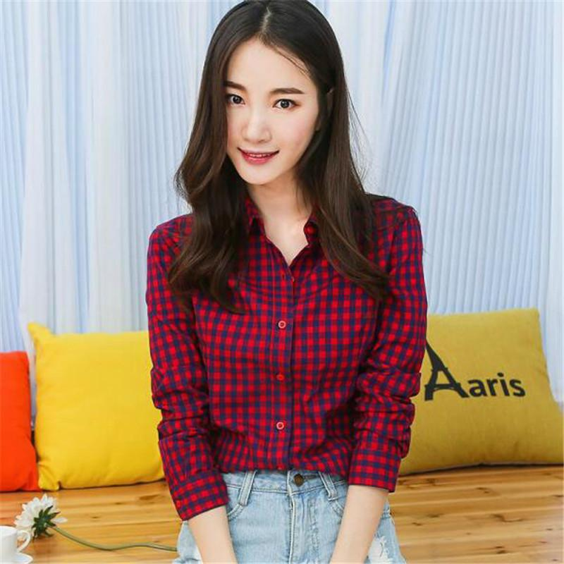 97288460dab 2019 New Women Fashion Flannel 2019 Sexy Club Autumn Casual Shirt Long  Sleeve Red White Plaid Blusas Female Blouse Tops Party J2109 From  Jincaile03, ...