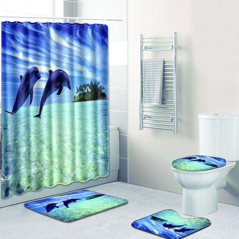 2019 The Whale Style Bathroom Shower Curtain And Rug Sets Anti Slip Toilet Mat Accessories Blue Carpet Fleece Bath Foot Pads C18113001 From Mingjing03