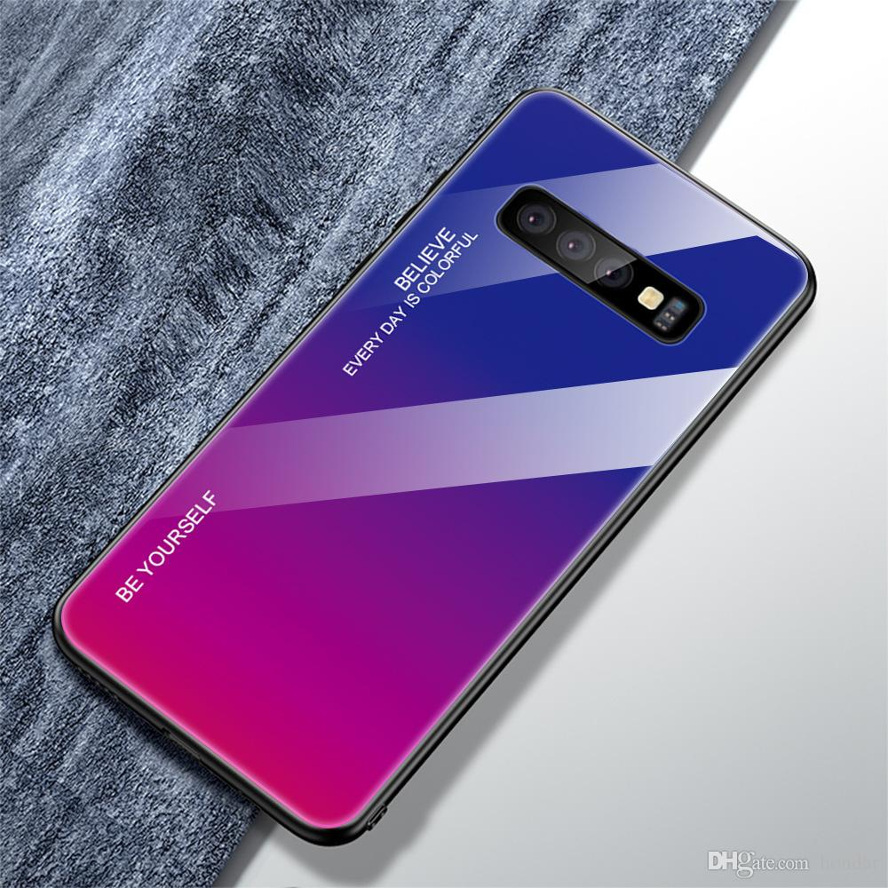 Newest Anti fall gradient glass case for Samsung A50 color change phone case tempered glass anti fall for Samsung case