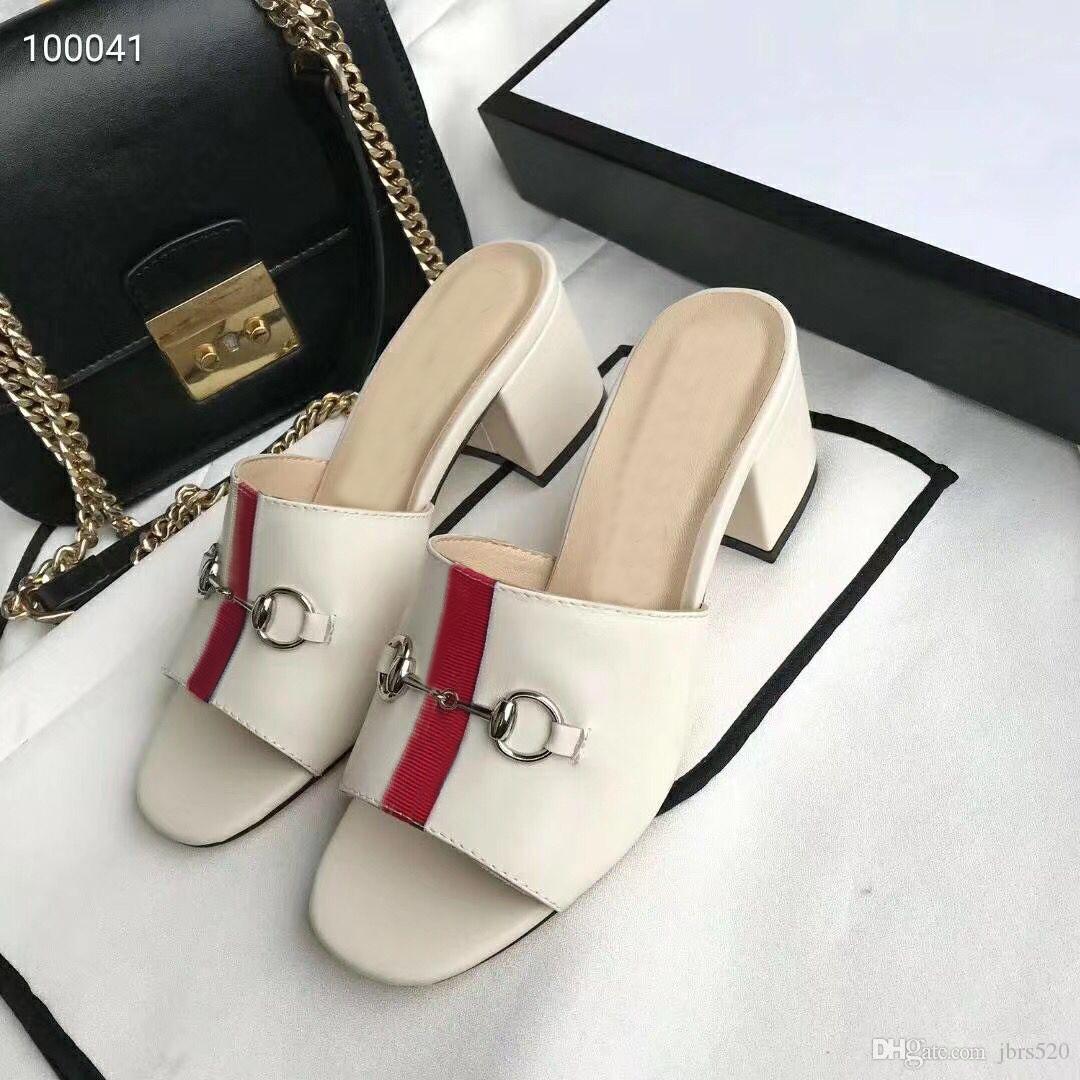 Summer Beach nuova pantofole da donna Designer tallone pigro Medio flop di cuoio della signora pistone mezzo di lusso delle signore del metallo pantofole dimensioni 35-42 41