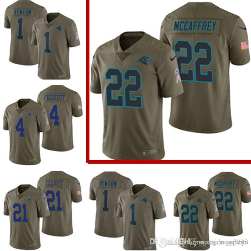 huge selection of ed1c9 72483 2017 Salute to Service Carolina Panthers Jersey Mens 22 Christian McCaffrey  1 Cam Newton Football Jerseys Cheap wholesale