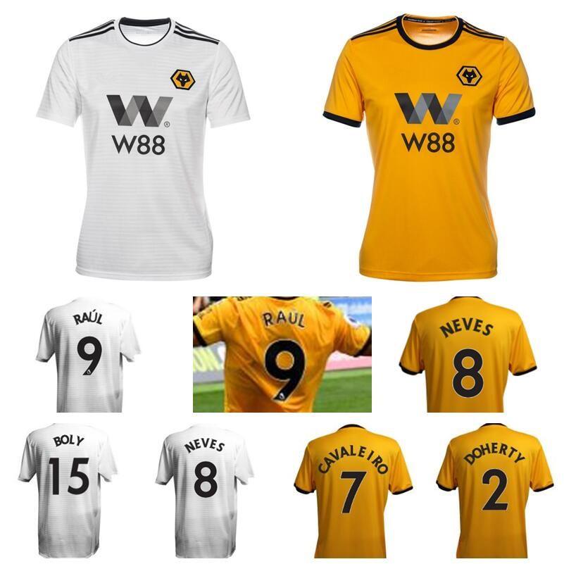1feb3762c26 2019 18 19 Wolverhampton Wanderers Soccer 9 Raul Jimenez Jersey 7 Ivan  Cavaleiro 2 Matt Doherty 11 Rui Patricio Goalkeeper Football Shirt Kits  From ...
