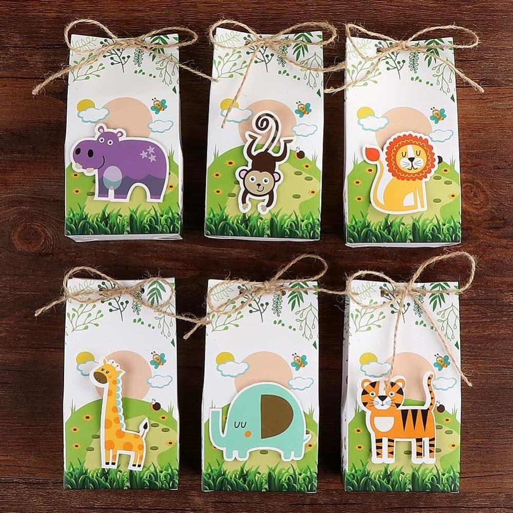 OurWarm Animal Theme Paper Candy Box Gift Bags Birthday Party Decorations Kids Jungle Baby Shower Boy C18112701 1st Christmas