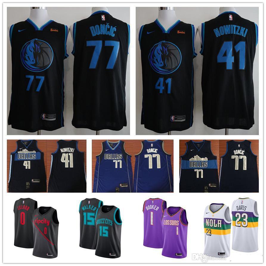 237abb8a5 2019 Cheap 2019 Men Dallas 41 Dirk Nowitzki Mavericks Luka Doncic Kemba  Walker Mohamed Bamba Devin Booker Damian Lillard Basketball Jerseys From  Ziyistore