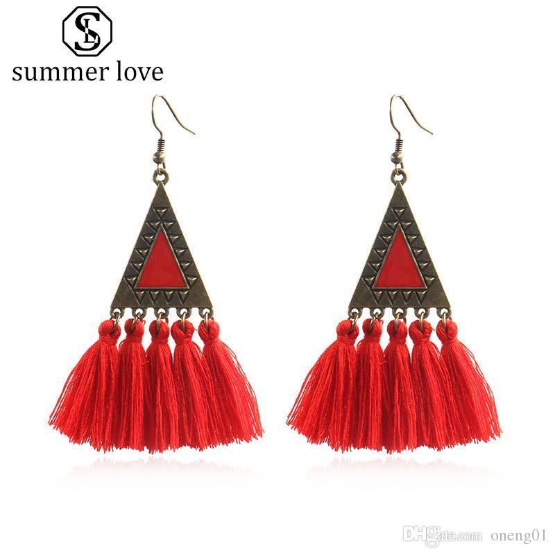 6b5a4aa7bfb 2019 2019 Vintage Ethnic Triangle Tassel Dangle Earrings For Women Bohemian  Long Fringed Geometric Drop Earring Statement Jewelry Gift From Oneng01, ...