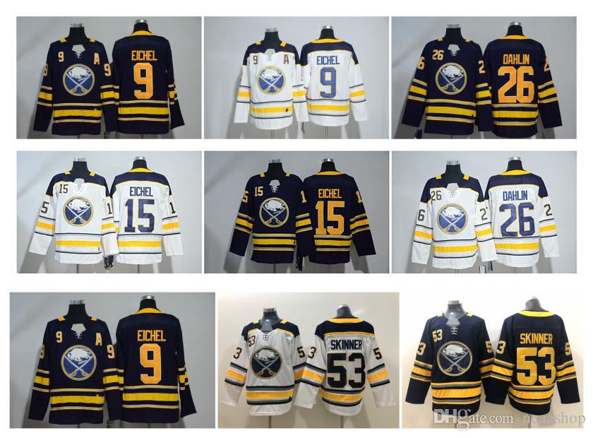 new arrival e83fc 6ff6c NHL Buffalo Sabres Jersey 9 Jack Eichel 26 Rasmus Dahlin 53 Jeff Skinner 15  Jack Eichel 90 Ryan O Reilly White Blue Stitched Hockey Jerseys