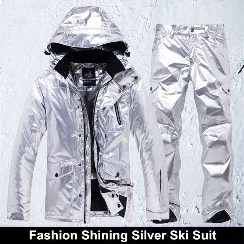 d1f7330d446f Shining Silver Mens Womens Ski Suit Winter Thermal Waterproof ...