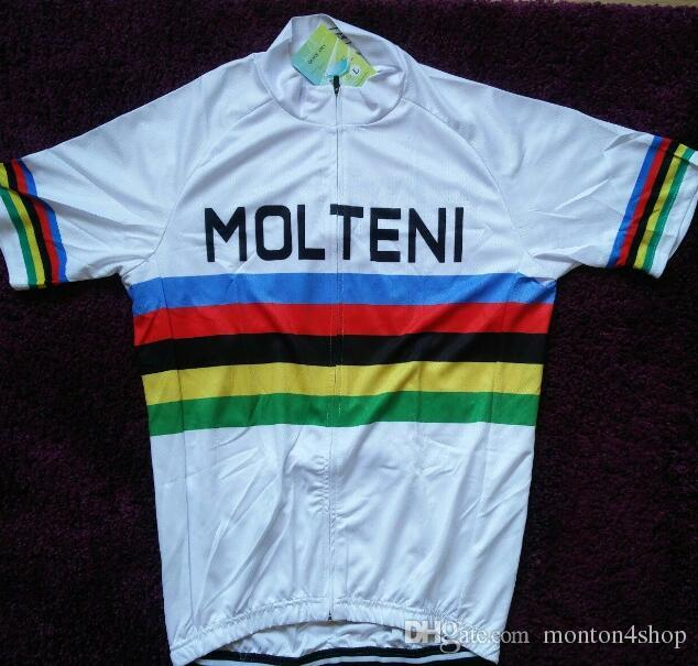 52e89b1f 2019 Molteni World Champion White Cycling Jersey Breathable Cycling Jerseys  Short Sleeve Summer Quick Dry Cloth MTB Ropa Ciclismo B23 Bib Shorts  Cycling ...