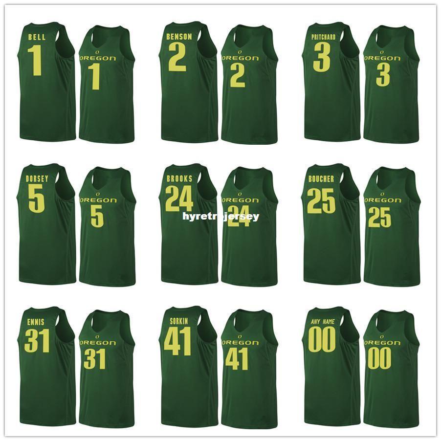 purchase cheap 1b637 c1d6a Oregon Ducks Basketball Jerseys 1 Bell 2 Casey Benson 3 Pritchard 5 Tyler  Dorsey 24 Dillon Brooks 25 Chris Boucher 31 En XS-6XL vest