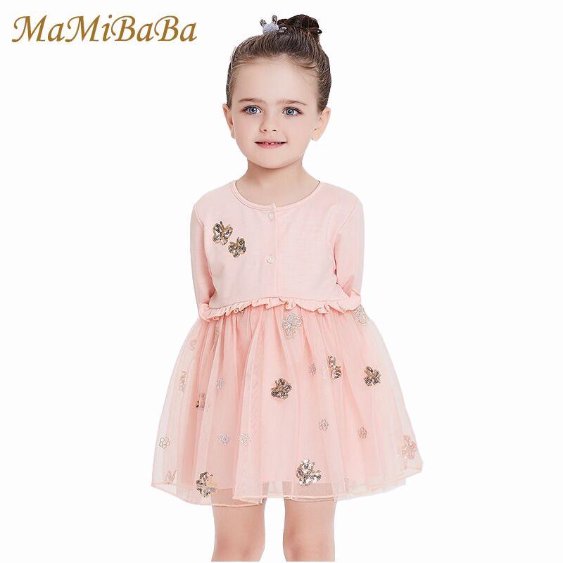 90933b540 Compre Vestidos Para Niñas Bebés 2019 Nuevo Otoño Algodón Sólido Vestido De  Bola Dulce Hasta La Rodilla Vestidos De Niños Para Niñas Ropa Casual Para  Niños ...