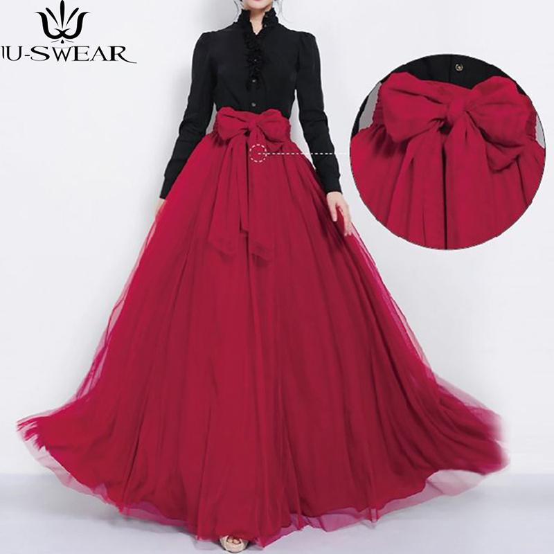 U-swear Maxi Long Skirt Autumn Womens Tulle Skirts Wedding Bridesmaid Tutu Skirt Ball Gown Plus Size Faldas Saias Femininas Jupe Y190428