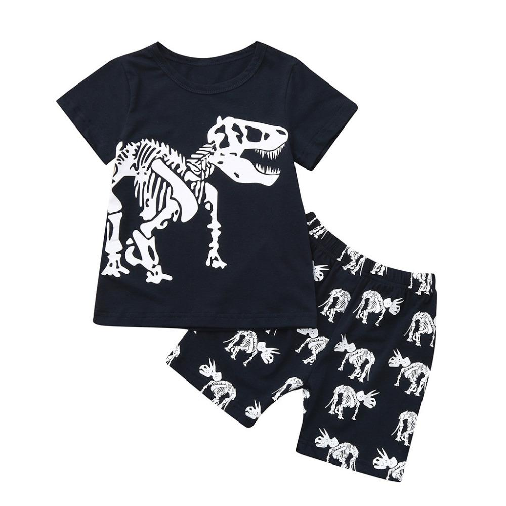 c756cc8c9 2019 MUQGEW Toddler Baby Kids Boys Dinosaur Summer Pajamas Sleepwear ...