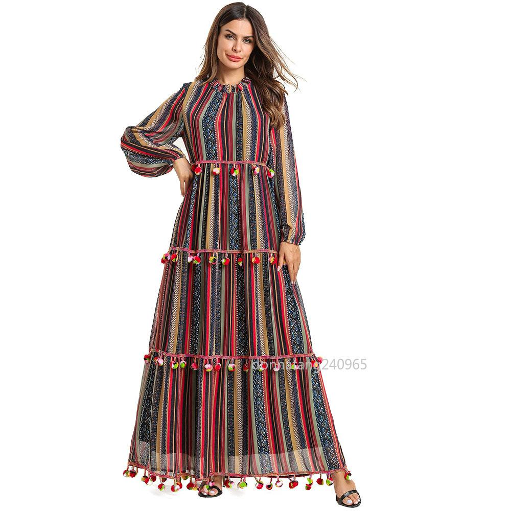 407bfb0e927 7505 Women Abaya Dubai Striped Colorful Pompom Muslim Dress Kaftan Turkish  Islamic Plus Size Clothes 4XL Long Dresses Bangladesh Robe Online with ...
