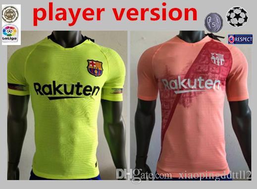 09ef0461c Compre Barcelona VIDAL SUAREZ O.DEMBELE Camisetas 2018 2019 Camisas Coutinho  Messi Player Versión PIQUE Soccer Jersey 18 19 Local Visitante TERCERA Rosa  A ...