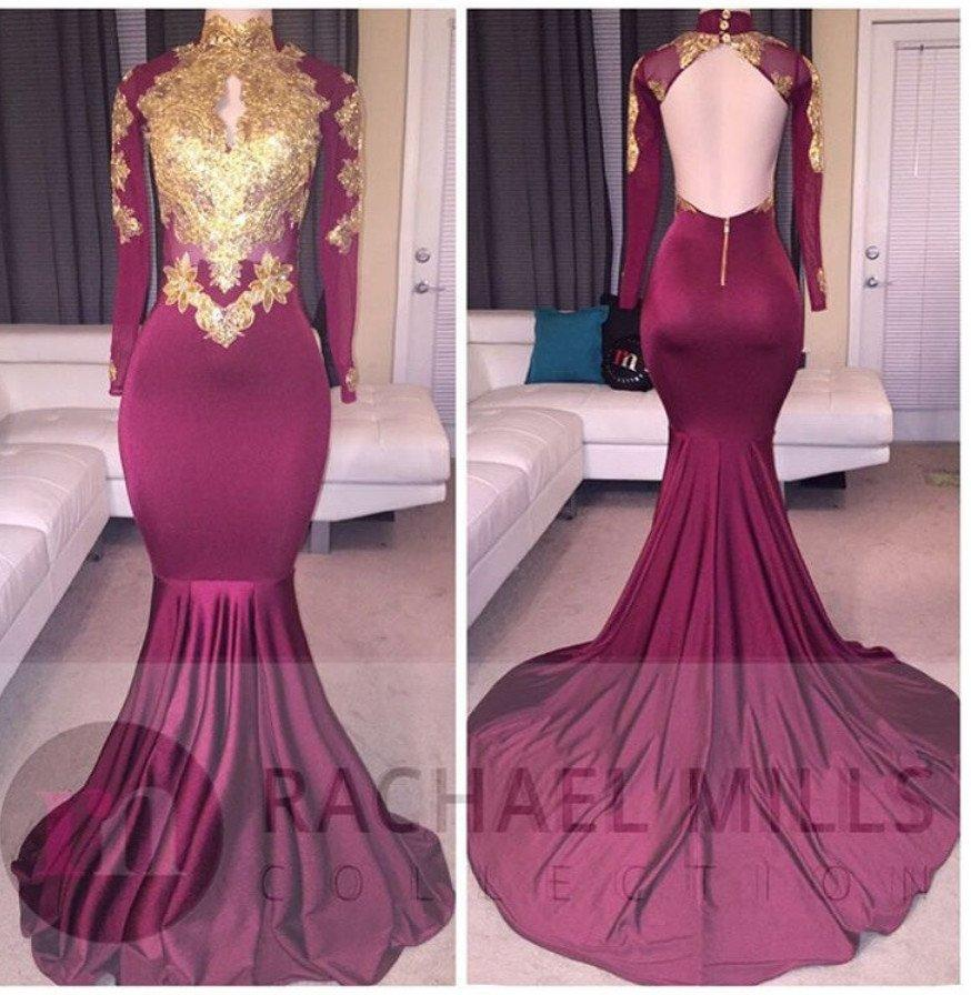 41f21334615 Burgundy Long Sleeve Gold Lace Prom Dresses 2019 Real Image Mermaid Satin Applique  Beaded High Neck Backless Court Train Prom Gowns 2015 Prom Dress Styles ...