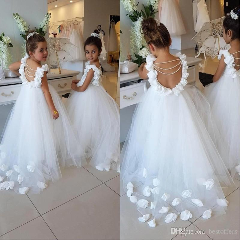 006b185eb 2019 Flower Girls Dresses For Weddings Scoop Ruffles Lace Tulle Pearls  Backless Princess Children Pageant Birthday Party Dresses BA9835 Girl  Wedding Dresses ...