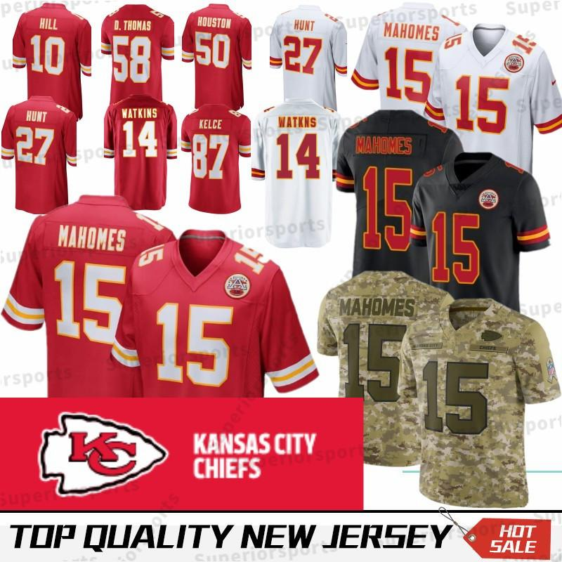 buy online 58892 595fc 15 Patrick Mahomes Kansas City Chiefs Jersey 10 Tyreek Hill 27 Kareem Hunt  87 Travis Kelce 50 Houston 58 Thomas Stitched