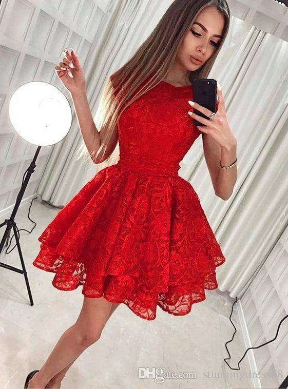 58884b406328 2019 Bonito encaje rojo Fiesta de graduación Vestido joya Cuello Una línea  Vestido de fiesta corto plisado Fiesta cóctel Vestidos
