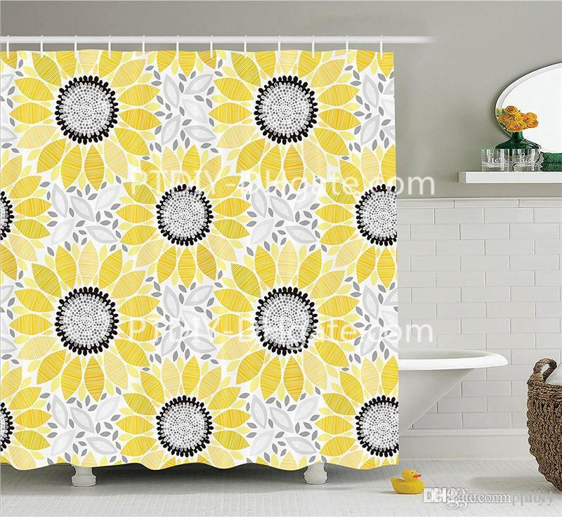 2019 Yellow Decor Shower Curtain Set Colorful Illustration Of Sun Flower With Chic Motifs And Patterns Summer Nature Artprint From Ptdiy1 2136