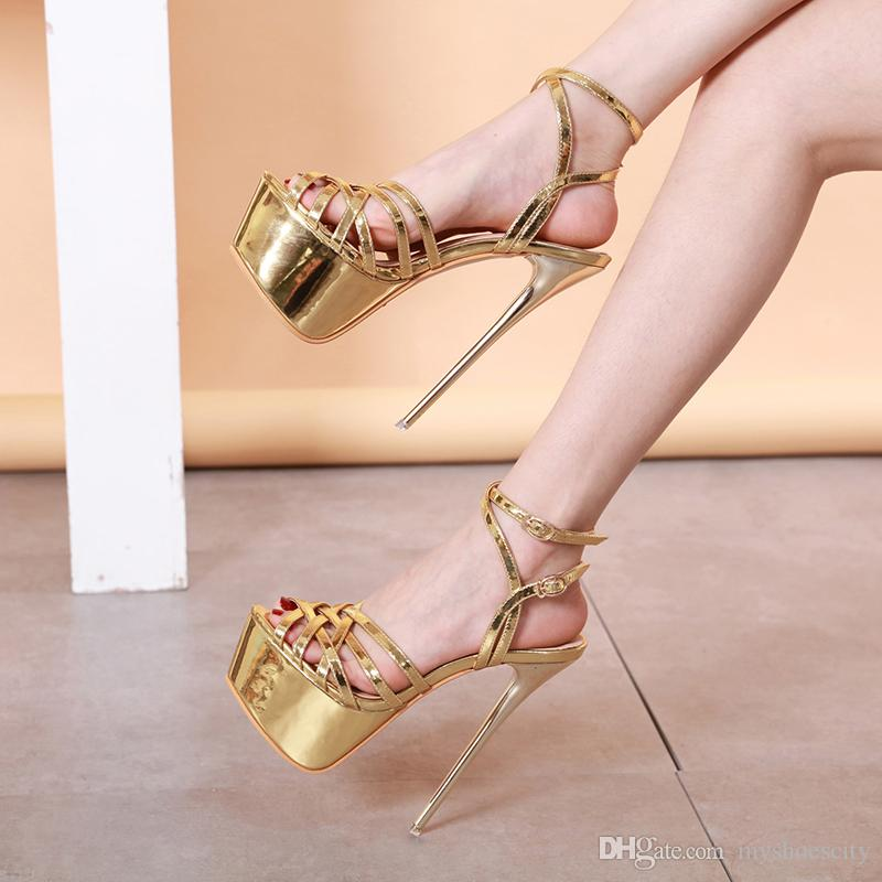 16cm sexy high heels prom shoes gold wedding sandals 2019 fashion luxury designer women sandals size 35 to 40