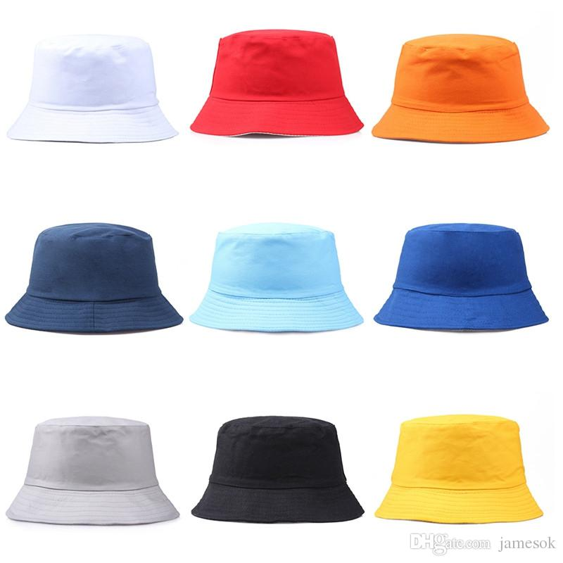 f2e046f01 Travel Fisherman Leisure Bucket Hats Solid Color Fashion Men Women Flat Top  Wide Brim Summer Cap For Outdoor Sports Visor dc281