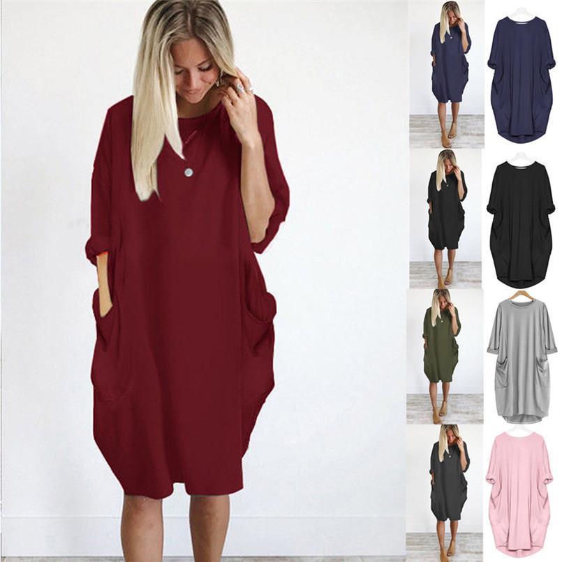 f5ff603c5698 Compre Venda Quente De Outono Inverno Das Mulheres De Moda De Bolso Vestido  Solto Senhoras Sólida Tripulação Pescoço Casual Tops Longos Vestido Plus  Size ...
