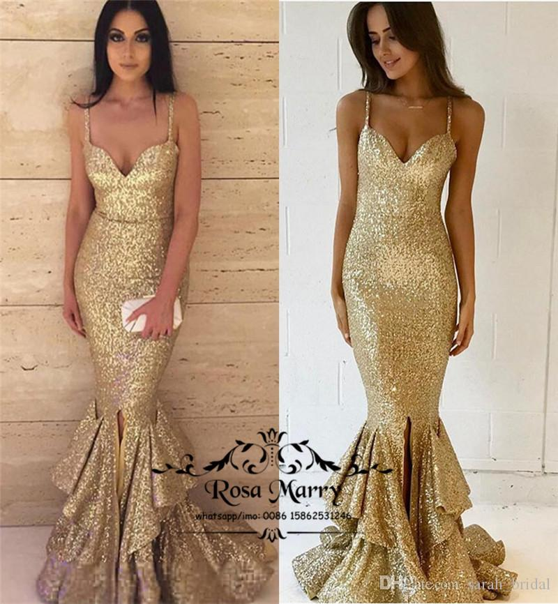 Sparkly Gold Sequined Mermaid Evening Dresses 2019 Plus Size Ruffles Skirt  Split Cheap Girls Pageant Formal Dresses Evening Prom Party Gowns Evening  Dresses ... 4da80dcc1f9e