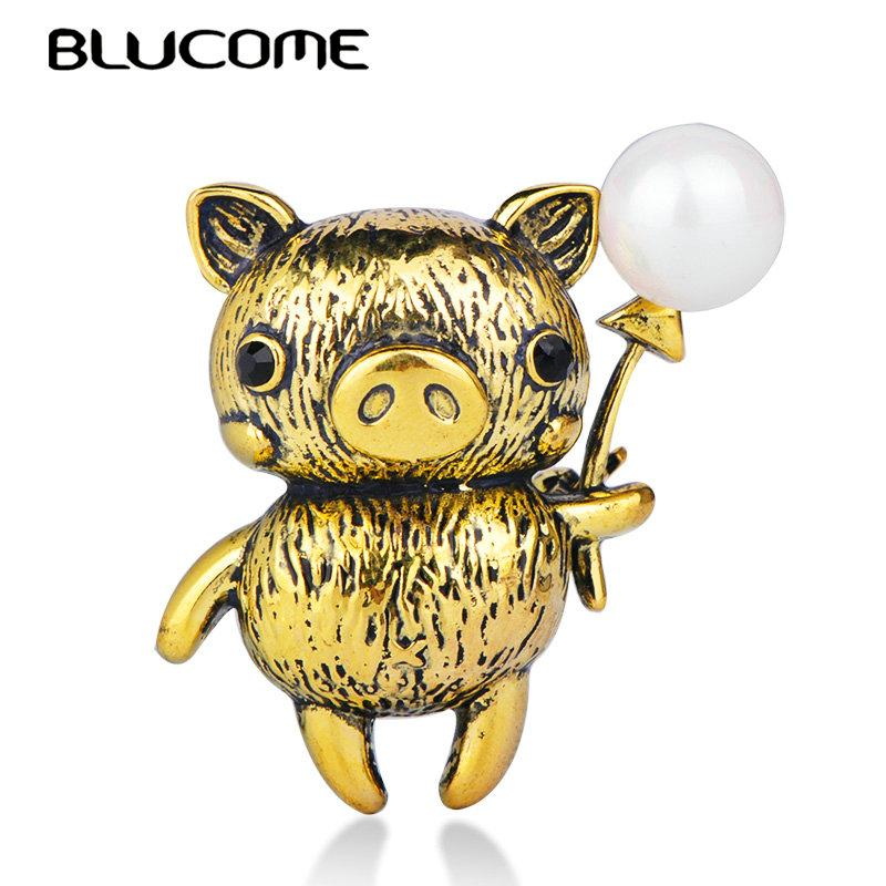 lucome Cute Pig Shape Brooch Antique Gold Color Simulated Pearl Accessories Women Girl Children Animal Badge Jewelry Lapel Pin Blucome Cu...