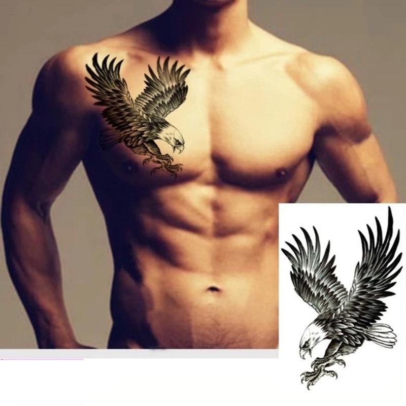 2018 cool art body Black Eagle 21 X 15cm Waterproof Hot sale Temporary  Tattoos Sticker fake tattoo makeup men girl party tattoo