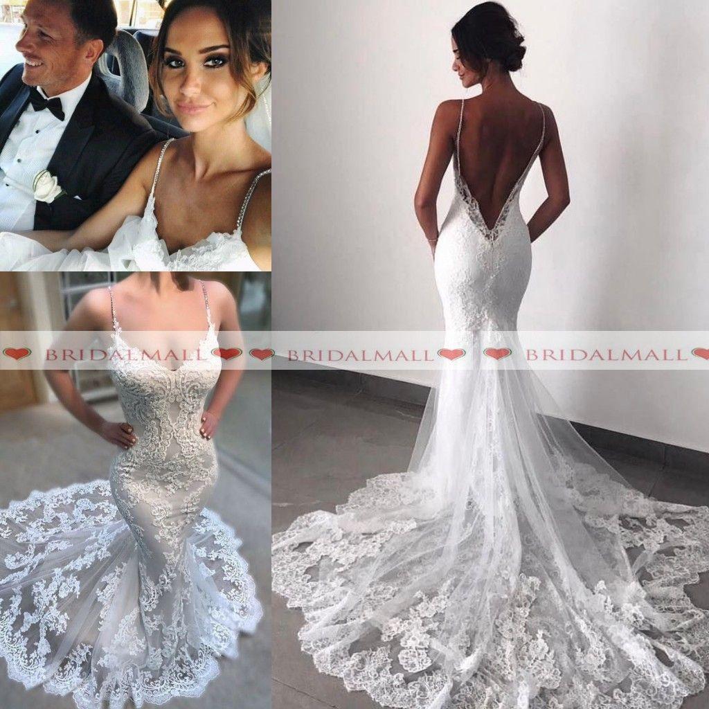 9cfb87bf15dc Sexy Backless Lace Beach Wedding Dresses 2019 Summer Spaghetti Straps Boho Bridal  Gowns Lace Applique Mermaid Wedding Gowns Robe De Mariée Mermaid Wedding ...