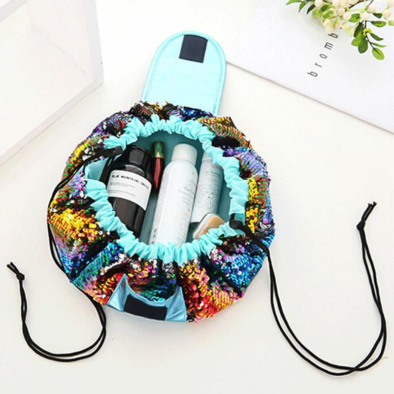 Woman Bag Fashion Mermaid Sequin Travel Makeup Cosmetic Bag Case Wash Organizer Storage Pouch Drawstring Brushes Magic