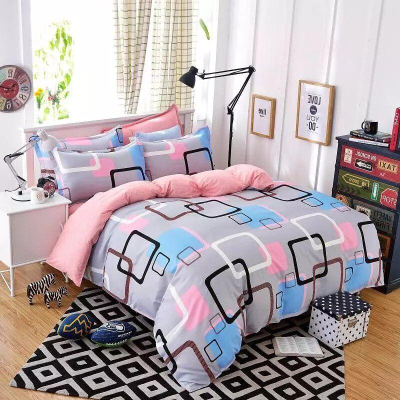 Bon Colored GridBedding Sets 3/Geometric Pattern Bed Linings Duvet Cover Bed  Sheet Pillowcases Cover Set White Comforter Set Queen Egyptian Cotton Duvet  Covers ...