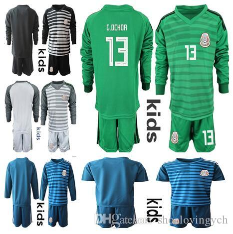 Maillot de foot Kids Mexico Ensemble de gardien # 13 G.OCHOA # 1 CORONA Ensemble de jeunes Junior MEXICO Gardien de football Kit de gardien de but