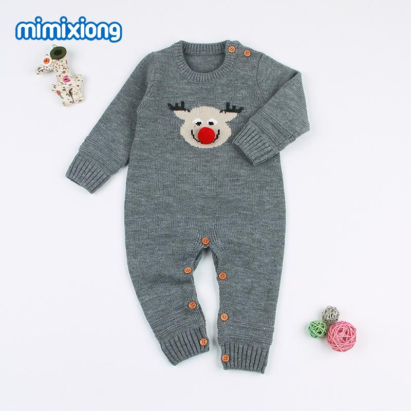 5f80d4cc5418 2019 Christmas Newborn Baby Reindeer Rompers Full Sleeved Toddler Girls  Jumpsuits Autumn Winter Knitting Infant Boys Animal Costumes From Muchixu