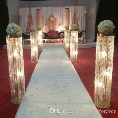 Wedding Aisle Decor.110 Cm Tall Wedding Aisle Decorations Crystal Pillars Wedding Walkway Stand Flower Stand Centerpiece For Party Marriage