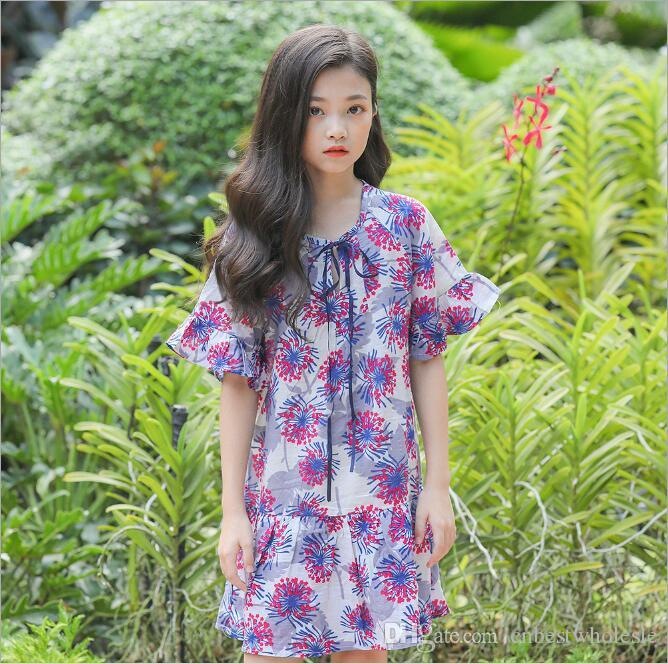 9d7670207797 2019 Teenager Printed Floral Dress Big Girl Princess Cotton Dress ...