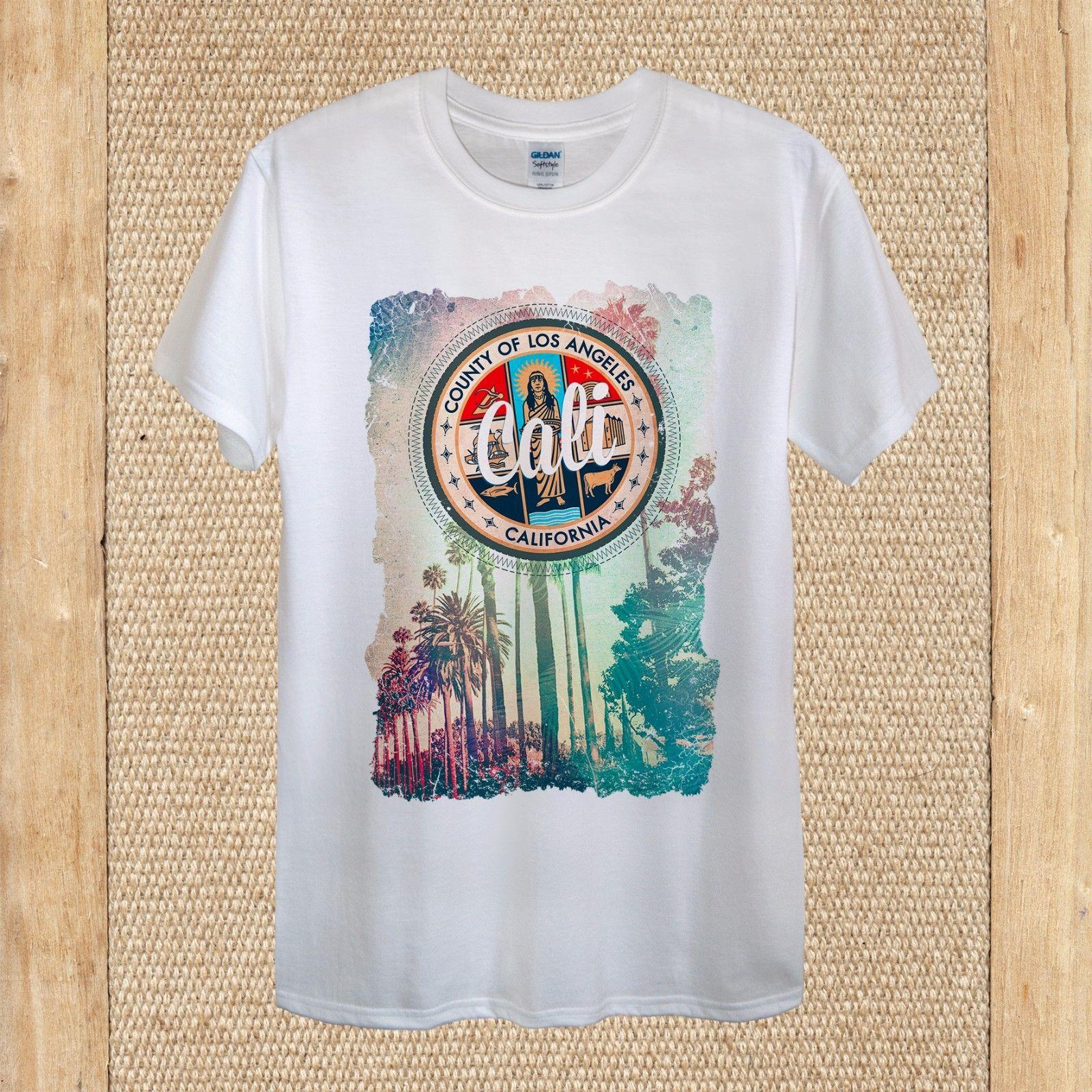 California Los Angeles T Shirt Design Travel High Quality Unisex