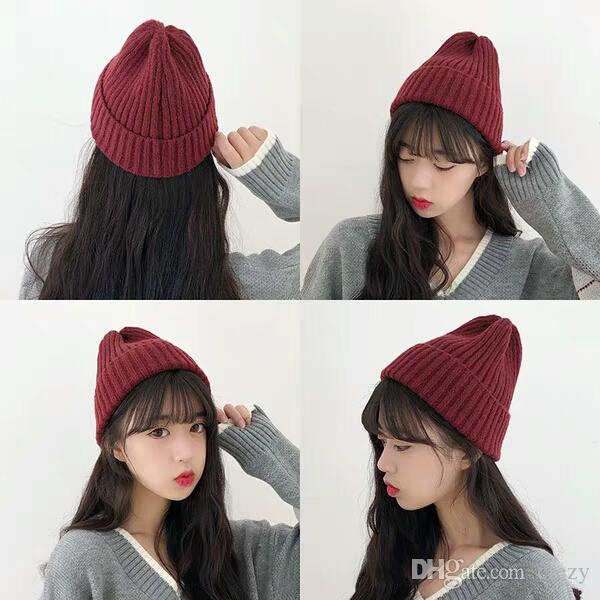 b06cae09c27 2019 Wool Hat Female Korean Edition Autumn And Winter Plush Thickening  Moisture Warm Protective Ear Cap Pure Colored Korean Embroidered Knitted H  From Crezy ...