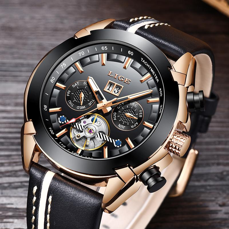ef084446357 LIGE NEW Mens Watches Top Brand Luxury Automatic Mechanical Watch Leather  Waterproof Men Watch Fashion Casual Series Masculino Chronograph Wrist Watch  From ...