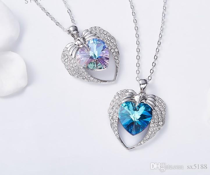 Necklace Luxury Designer Necklace High Quality Heart Crystal Necklace Austrian Crystal Angel Fashion Accessories free shipping 0712