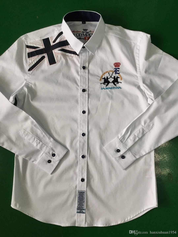 2886769b0e Camicia POLO all ingrosso di fabbrica Top Brand la martina Uomo Slim Fit  manica lunga in cotone Camicia camisas per gli uomini Casual Business  vestito ...