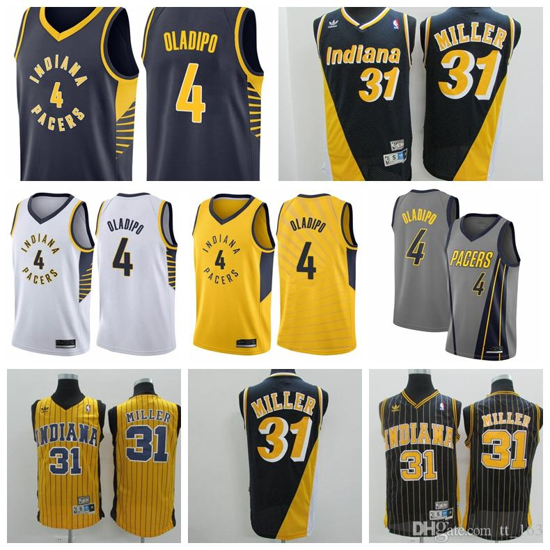 f54453d19c2 2018-2019 Men's 4 Victor Oladipos 31 Reggie Millers Indiana reliablequality Pacers  jersey Swingman Basketball Jersey