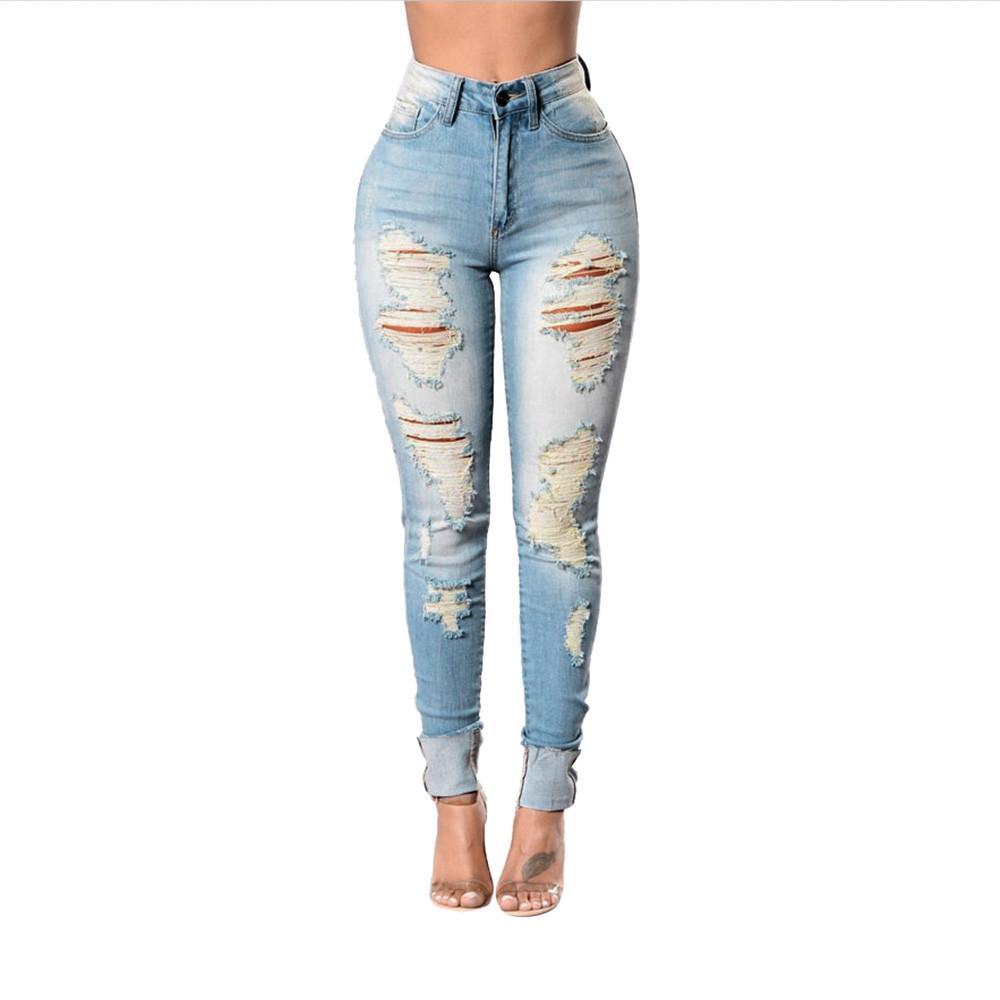 67e675bba3 Compre CHAMSGEND Moda Mujeres Estiramiento Agujero Lápiz Pies Jeans 2019  Casual Solid Flaco Mediados De Cintura Estiramiento Delgado Lápiz Sexy  Pantalones ...
