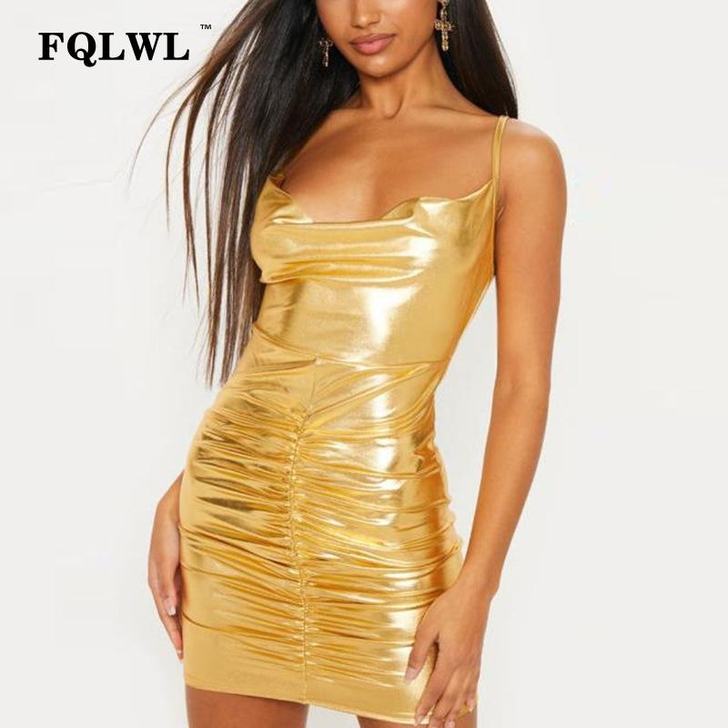 32bab57a21a Wholesale Pleated Faux Pu Leather Dress Women Ruched Backless Bandage  Bodycon Mini Dress Female Ladies Sexy Club Short Party Dresses Online with  ...