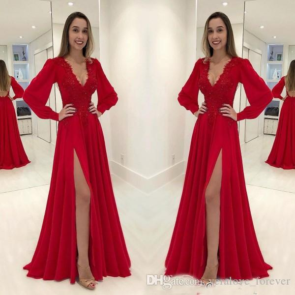 3c3b0b9940 Sexy V Neck Long Sleeves Red Evening Dresses Chiffon Front Split Lace  Applique Prom Dress V Neck Long Sleeves Party Dres Wear Formal Dress Shop  Full Length ...